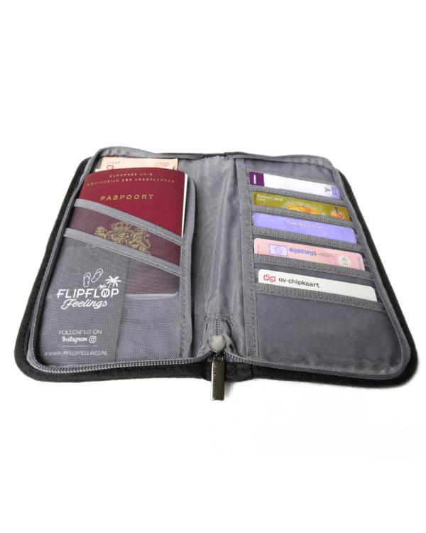 reisdocumenten tas binnenkant zwart