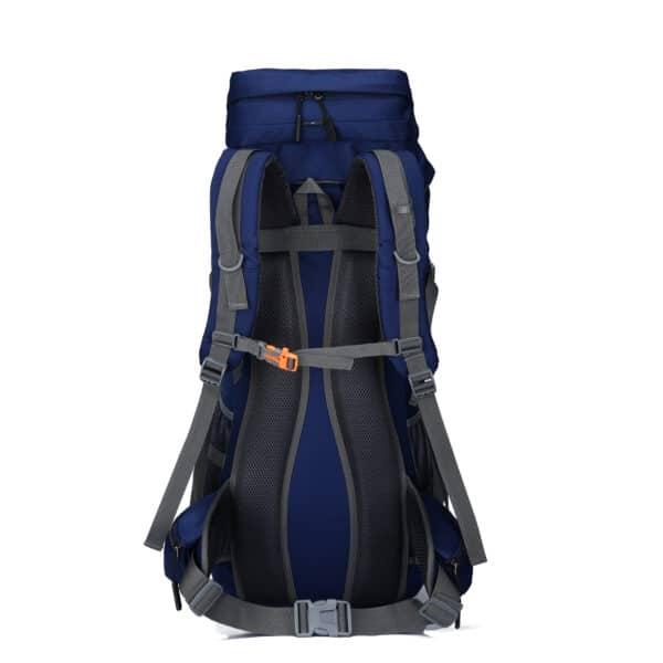 Blauwe backpack achterkant