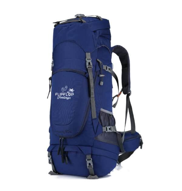 Blauwe backpack te openen als koffer