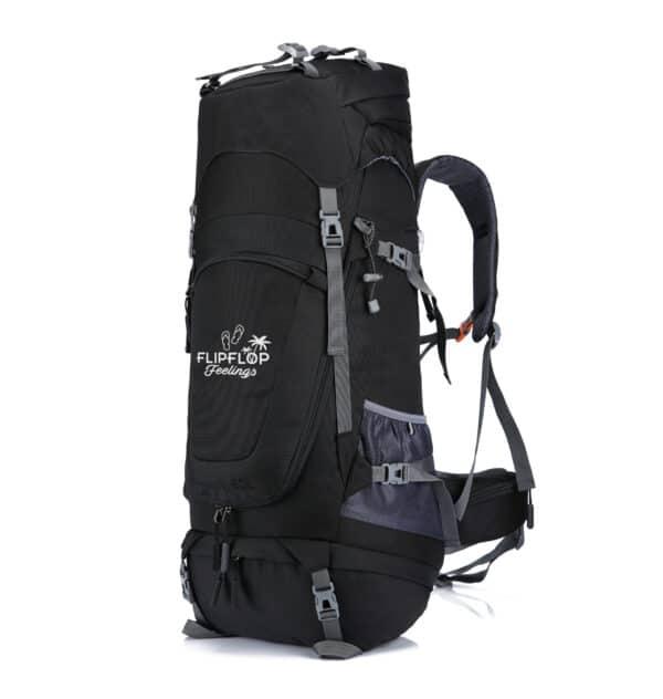Zwarte backpack te openen als koffer 70L