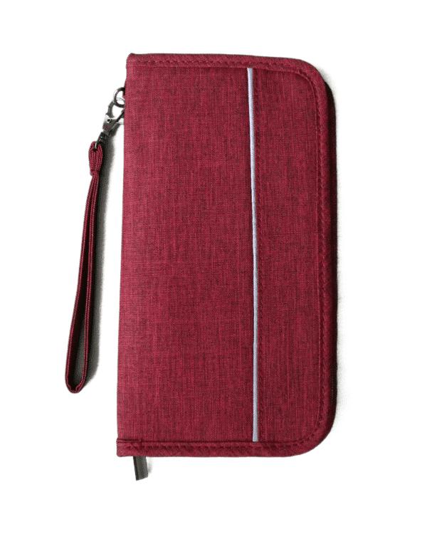 reisdocumenten tas achterkant rood