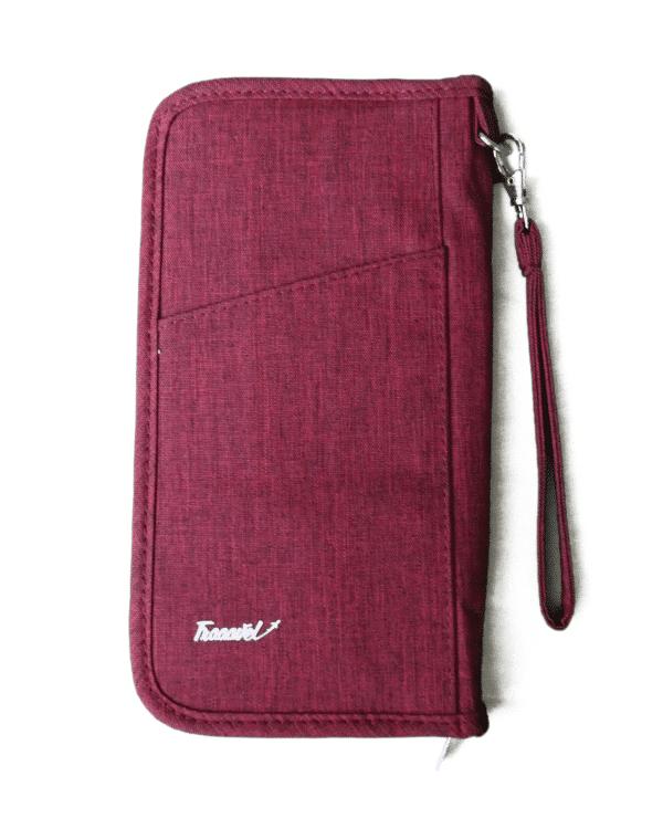 reisdocumenten tas voorkant rood